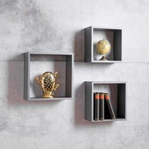 Melodia Modern Set of 3 Shelving Unit In Grey