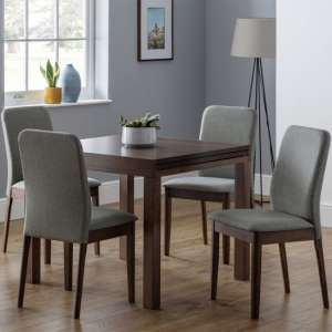 Melrose Extending Dining Set With 4 Berkeley Grey Fabric Chairs
