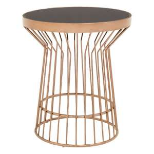 Melville Glass Side Table In Black With Copper Finish