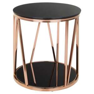Melville Glass Side Table Round In Black With Rose Gold Frame