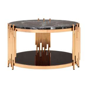 Melville Marble Coffee Table Round In Black With Rose Gold Frame