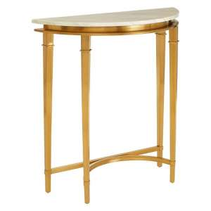 Melville Marble Half Moon Console Table In White And Gold Legs