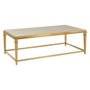 Melville Marble Coffee Table Rectangular In White And Gold Legs
