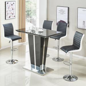 Memphis Glass Bar Table In High Gloss Black And 4 Ritz Stools