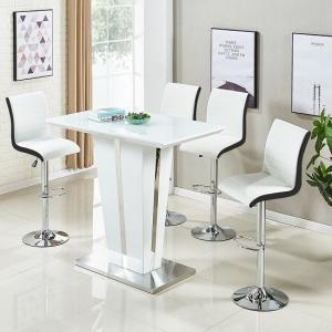 Memphis Glass Bar Table In High Gloss White And 4 Ritz Stools
