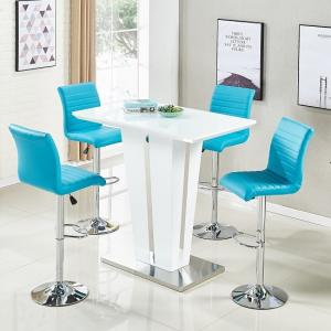 Memphis Glass Bar Table Gloss White 4 Ripple Turquoise Stools