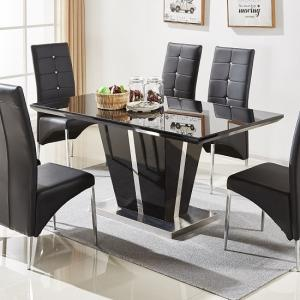 Memphis Glass Dining Table In Black Gloss And Chrome Base
