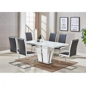 Memphis Glass Dining Table In White And 6 Symphony Black Chairs