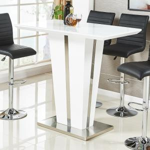 Memphis Glass Bar Table In High Gloss White And Chrome Base