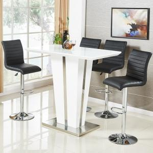 Memphis Glass Bar Table In High Gloss White And 4 Ripple Stools