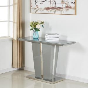 Memphis Console Table In Grey High Gloss With Glass Top