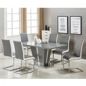 Memphis Glass Dining Table In Grey Gloss And 6 Symphony Chairs