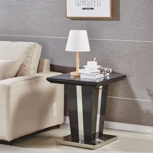 Memphis Lamp Table Square In Black High Gloss With Glass Top