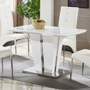 Memphis Gl Dining Table Small In White Gloss And Chrome Base