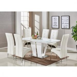 Memphis Glass Dining Table In White Gloss With 6 Dining Chairs