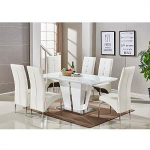 memphis glass dining table in white gloss with 6 dining chairs - White Gloss Kitchen Table