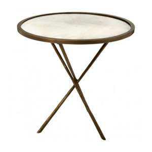 Menkent Large Round Glass Side Table In Brass