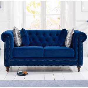 Mentor Modern Fabric 2 Seater Sofa In Blue Plush