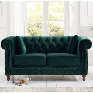 Mentor Modern Fabric 2 Seater Sofa In Green Plush