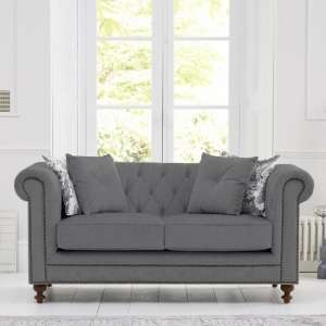 Mentor Fabric 2 Seater Sofa In Grey Linen With Dark Ash Legs
