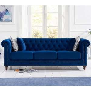 Mentor Modern Fabric 3 Seater Sofa In Blue Plush