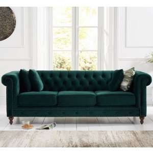 Mentor Modern Fabric 3 Seater Sofa In Green Plush