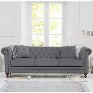 Mentor Fabric 3 Seater Sofa In Grey Linen With Dark Ash Legs