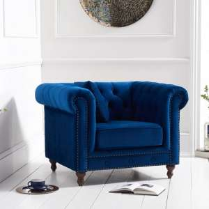 Mentor Modern Fabric Sofa Chair In Blue Plush