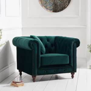 Mentor Modern Fabric Sofa Chair In Green Plush