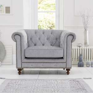 Mentor Fabric Sofa Chair In Grey With Dark Ash Legs