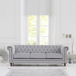 Mentor Fabric 3 Seater Sofa In Grey With Dark Ash Legs