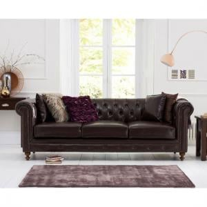 Mentor 3 Seater Sofa In Brown Leather With Dark Ash Legs