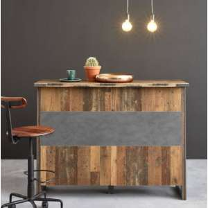 Merano Wooden Bar Unit In Old Wood And Matera Grey