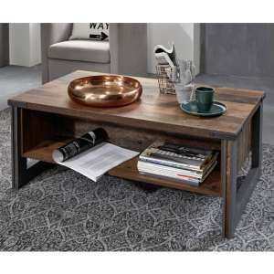 Merano Wooden Coffee Table In Old Wood With Matera Grey Legs