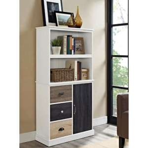 Mercer Wooden Storage Bookcase In White