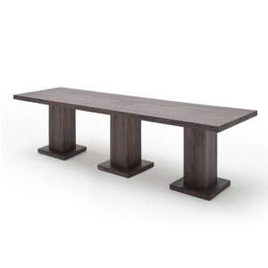 Mancinni 400cm Dining Table In Weathered Oak With 3 Pedestals