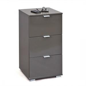 Meridian Bedside Cabinet In Grey High Gloss With 3 Drawers