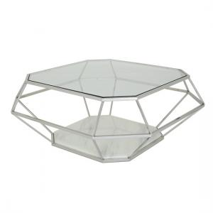 Merin Glass Coffee Table With Polished Stainless Steel Frame