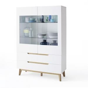 Merina Glass Display Cabinet In Matt White And Knotty Oak