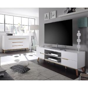 Merina Lowboard TV Stand In Matt White And Oak With 4 Drawers_6