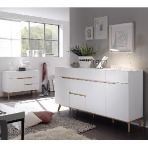 Merina Compact Sideboard In Matt White And Oak With 4 Drawers_6