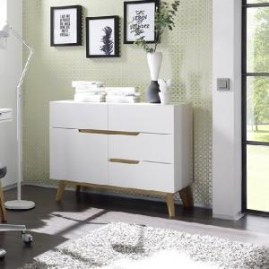 Merina Compact Sideboard In Matt White And Oak With 4 Drawers_1