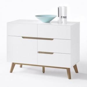 Merina Compact Sideboard In Matt White And Oak With 4 Drawers_3