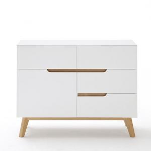 Merina Compact Sideboard In Matt White And Oak With 4 Drawers_4