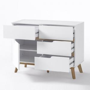 Merina Compact Sideboard In Matt White And Oak With 4 Drawers_2