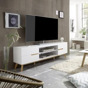 Merina Lowboard TV Stand In Matt White And Oak With 4 Drawers
