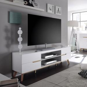 Merina Lowboard TV Stand In Matt White And Oak With 4 Drawers_2