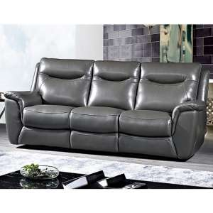 Merryn Contemporary 3 Seater Sofa In Grey Faux Leather
