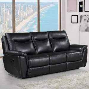 Merryn Contemporary Recliner 3 Seater Sofa In Black Faux Leather