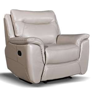Merryn Contemporary Recliner Armchair In Taupe Faux Leather
